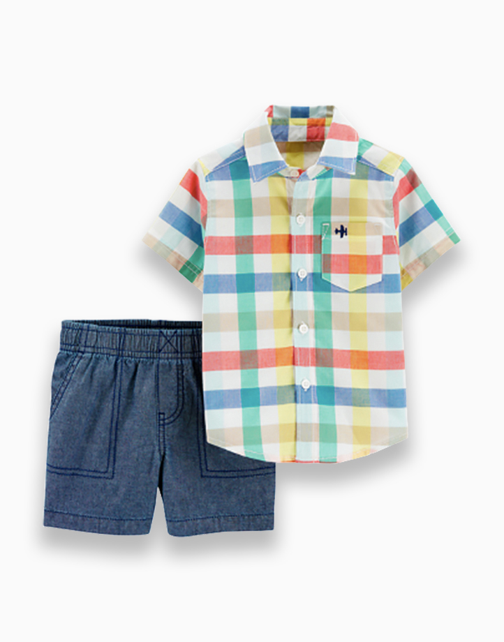 2-Piece Gingham Button-Front & Chambray Short Set - 2H359910 by Carter's | 3T