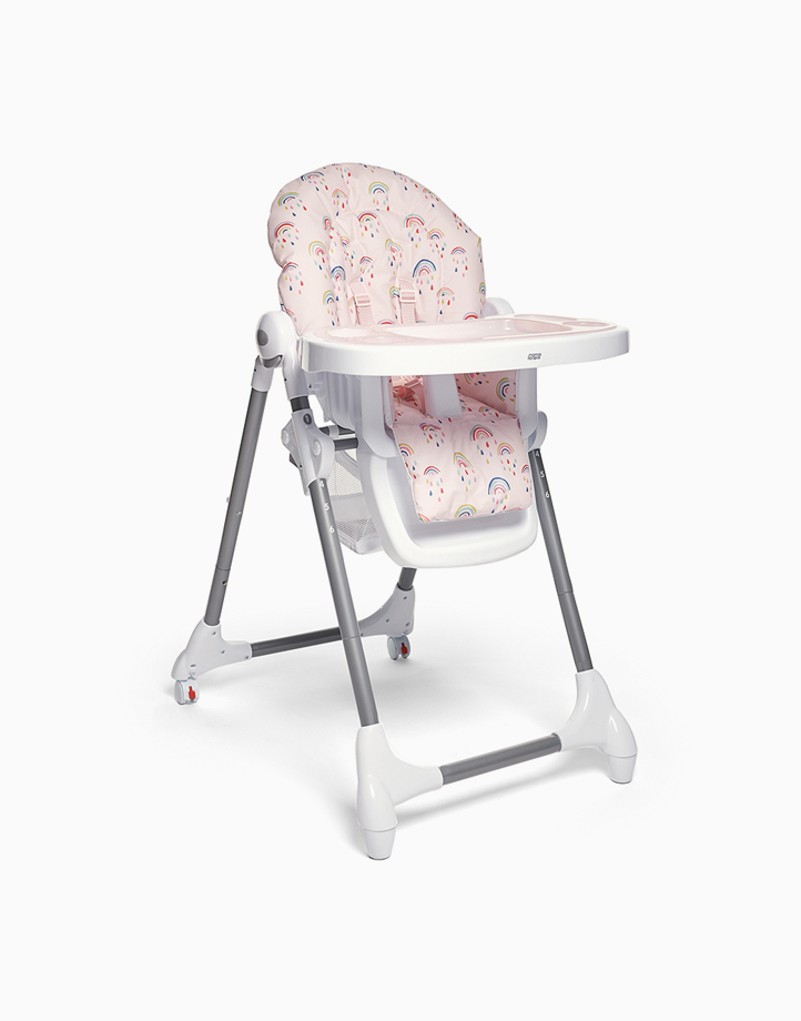 Snax Adjustable Highchair with Removable Tray Insert and Freestanding, Compact Fold by Mamas and Papas   Rainbows