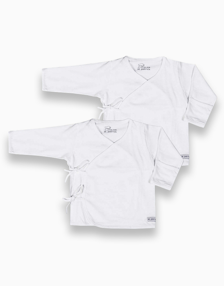 Tie-Side Long sleeves (Pure White) by St. Patrick Baby   0-3M