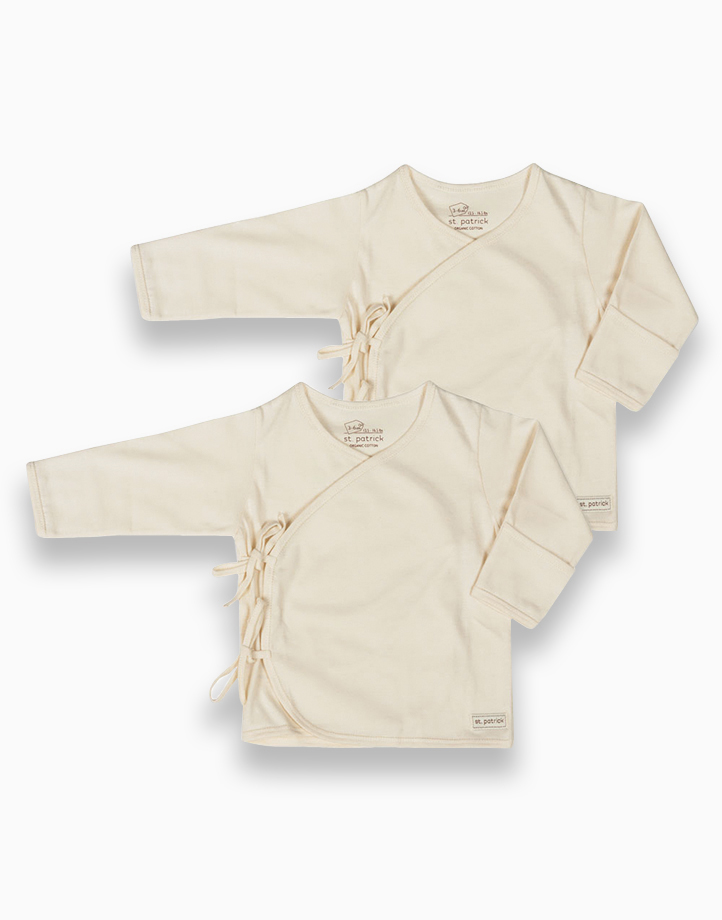 Tie-Side Long Sleeves (Natural) by St. Patrick Baby   0-3M