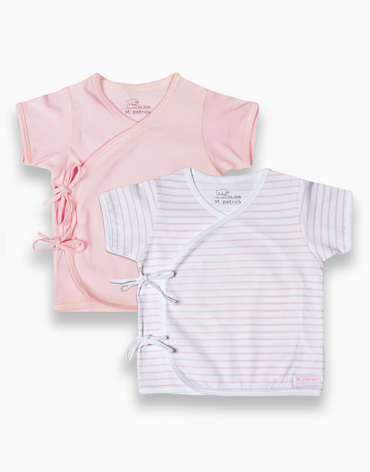 Tie-Side Shirt Short Sleeves (Powder Pink and Pink Stripes) by St. Patrick Baby | 0-3M