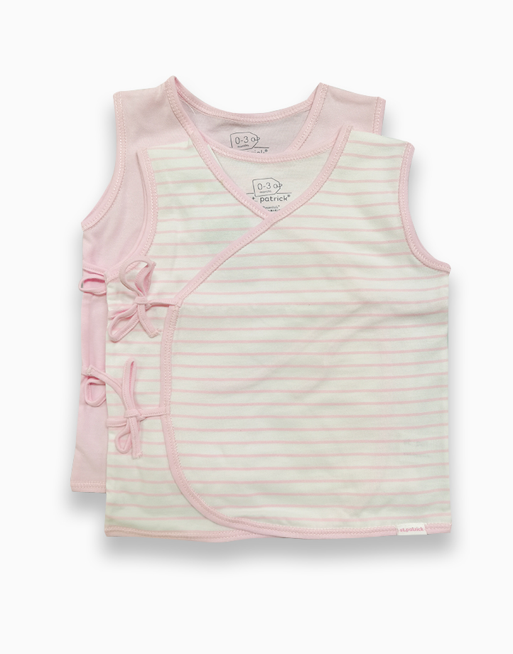 Tie-Side Shirt Sleeveless (Powder Pink and Pink Stripes) by St. Patrick Baby   0-3M