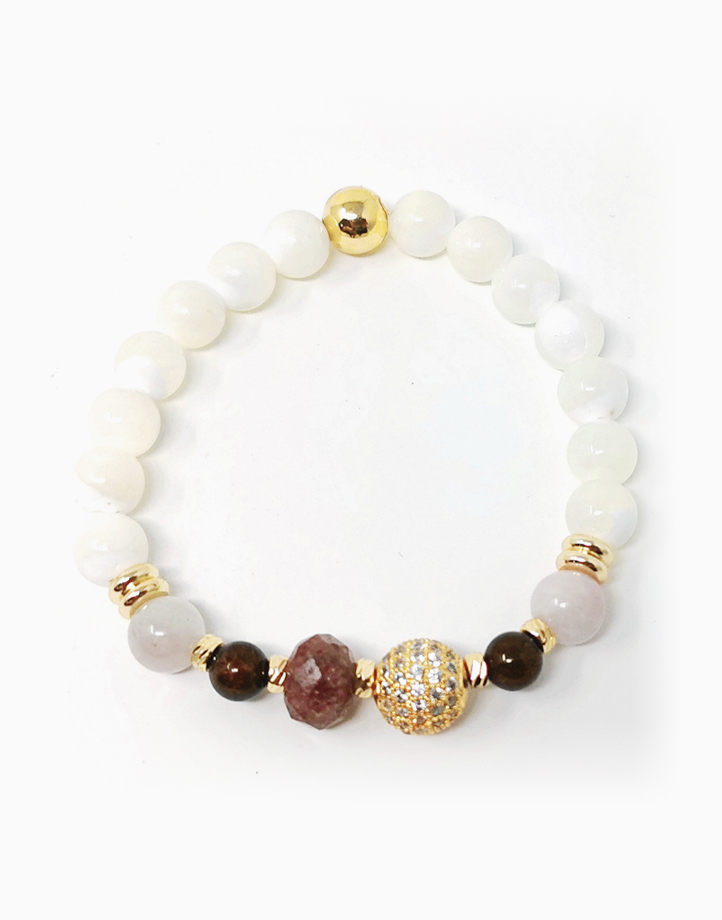 Abundant Love Bracelet with Kunzite, Ruby, Garnet, Mother of Pearl, and Rhinestone Ball (For Women) by The Calm Chakra | Medium