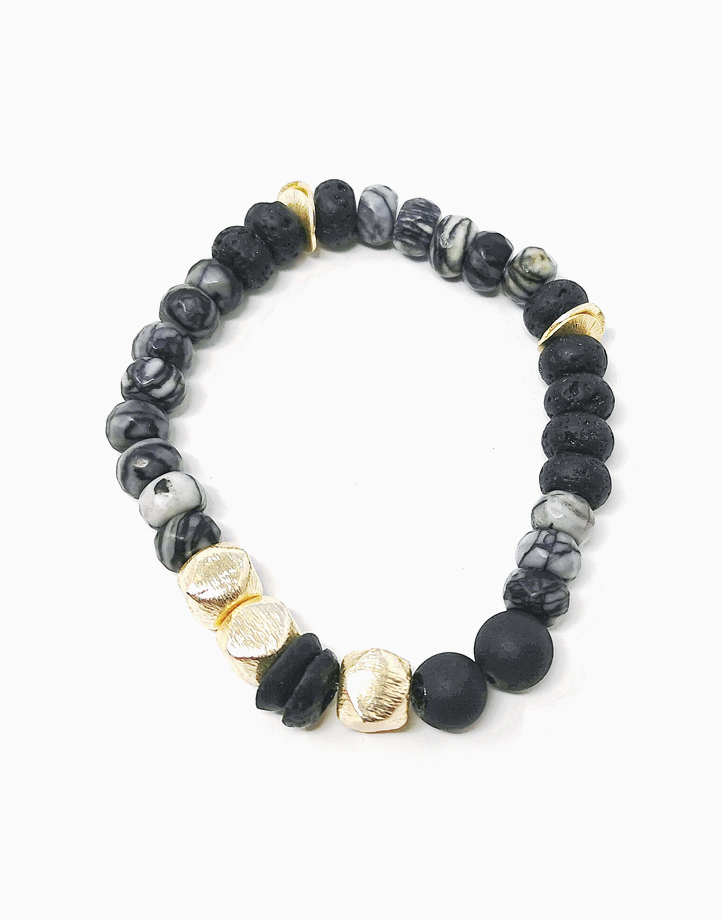 Creative Endurance Bracelet with Picasso Marble, Agate, and Lava Diffuser Stone (Unisex) by The Calm Chakra | Women's L/Men's M