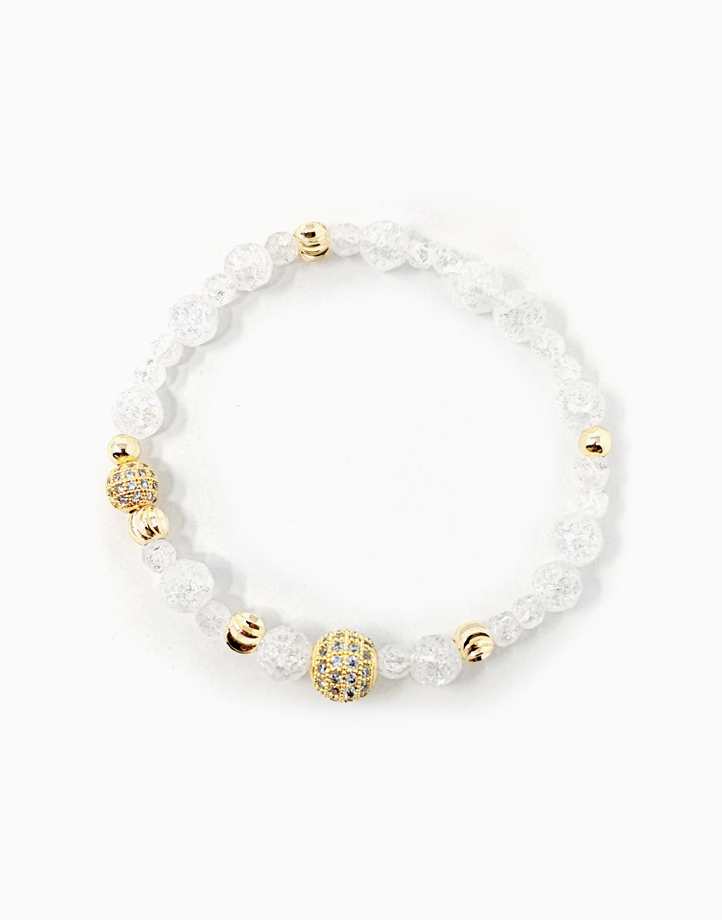 Heighten Bracelet with Clear Quartz and Rhinestone Balls (For Women) by The Calm Chakra | Large