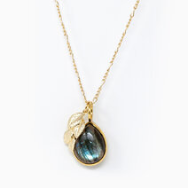 Re serendipity necklace with 17mm labradorite teardrop pendant and leaf pendant %28for women%29 2