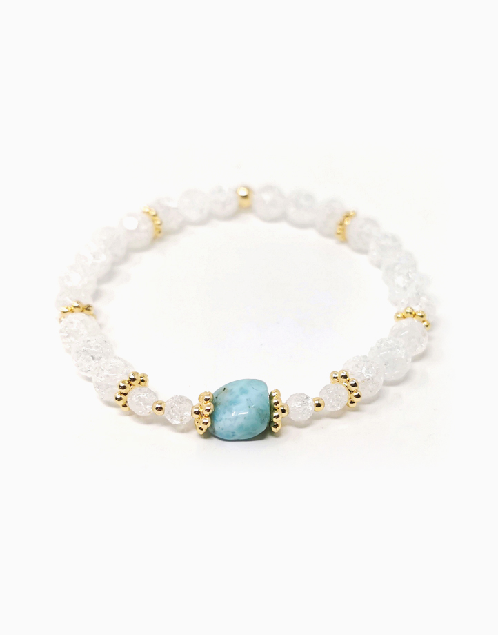 Serene Goddess Bracelet with Larimar and Clear Quartz (For Women) by The Calm Chakra | Large