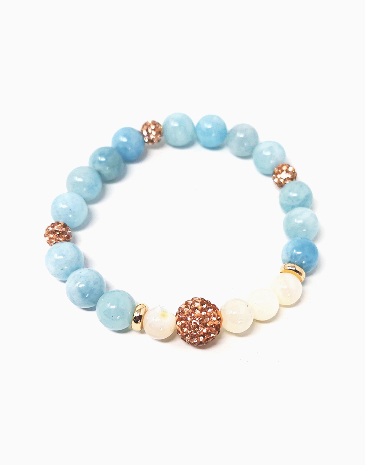 Tranquility and Truth Bracelet with Aquamarine and Mother of Pearl (for Women) TT-DW1 by The Calm Chakra | Large