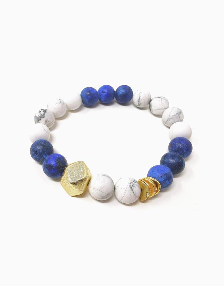 True Wisdom Bracelet with Lapiz Lazuli and Howlite *Jewels of the Nile* (for Men) TWIS-AU1 by The Calm Chakra | Men's Large