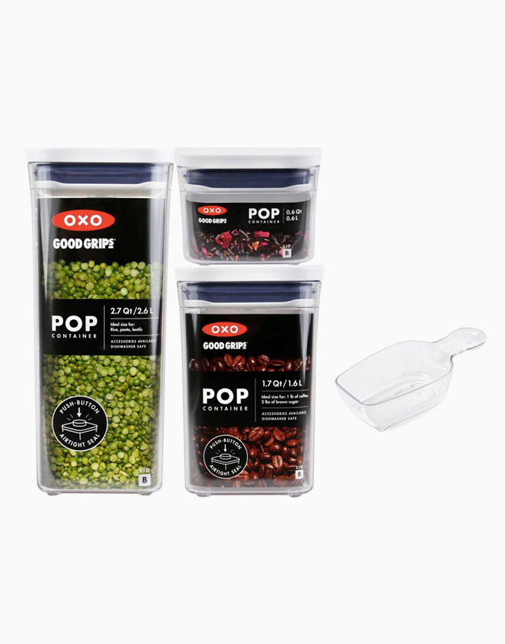 Good Grips POP Container, Three-Piece Rectangle Set with Scoop by Oxotot