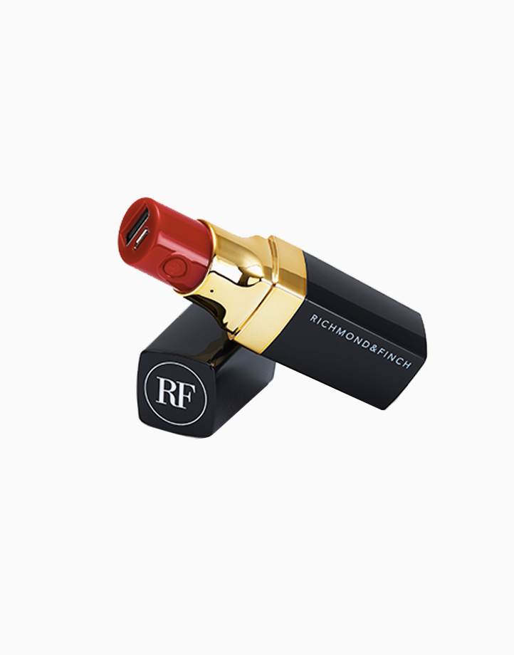 Lipstick Power Bank (2600mAh with Cables) by Richmond & Finch | Black Marble