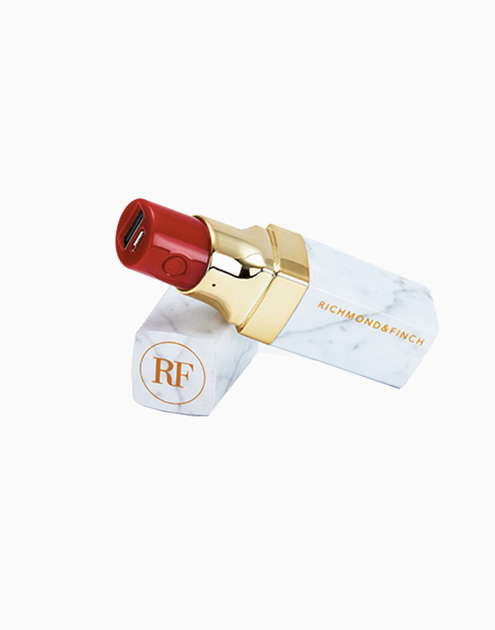 Lipstick Power Bank (2600mAh with Cables) by Richmond & Finch | White Marble