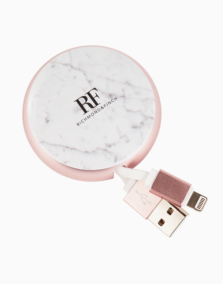 Cable Winder Lightning to USB Cable by Richmond & Finch | White Marble