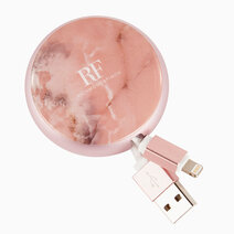 Cable winder lightning to usb cable pink marble 1