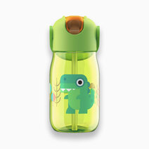 Kids flip straw bottle green 1