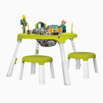 Portaplay convertible activity center with 2 stools forest friends