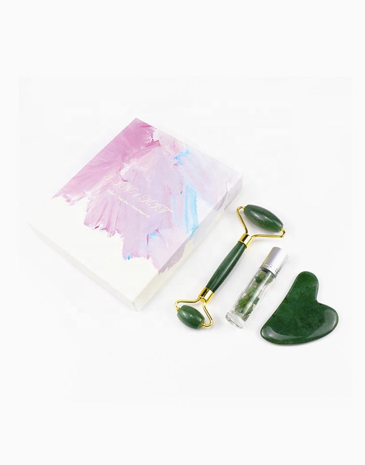 3-in-1 Jade Roller + Gua Sha + Gemstone Roll-on Kit by Crystal Beauty