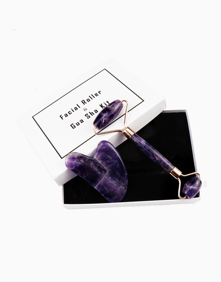 Amethyst Facial Roller & Gua Sha Kit by Crystal Beauty