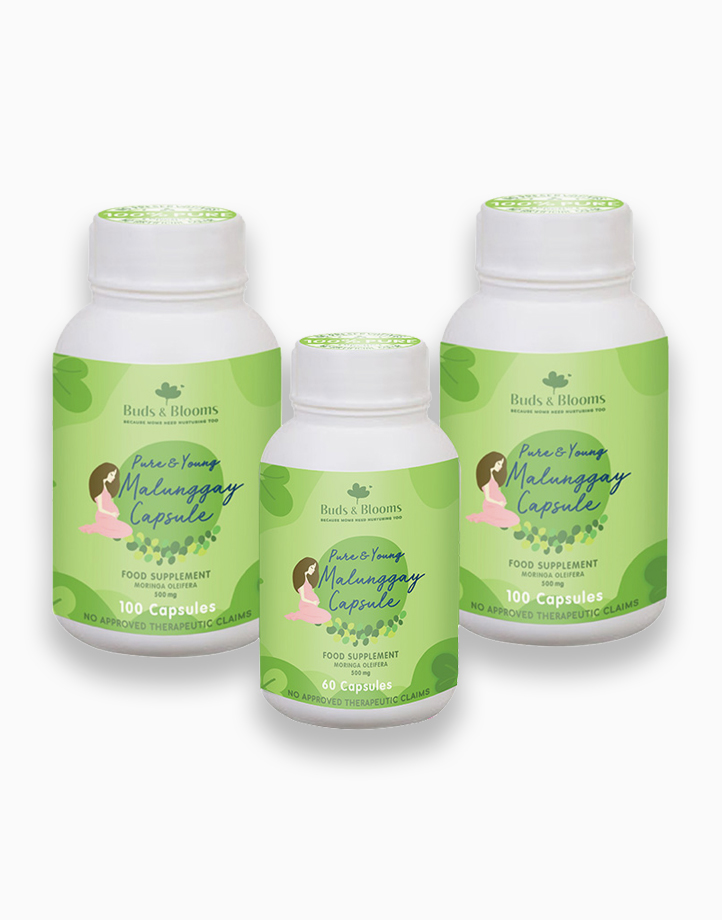 Pure & Young Malunggay Capsule Bundle (100s x 2, 1 FREE 60s bottle) by Buds & Blooms