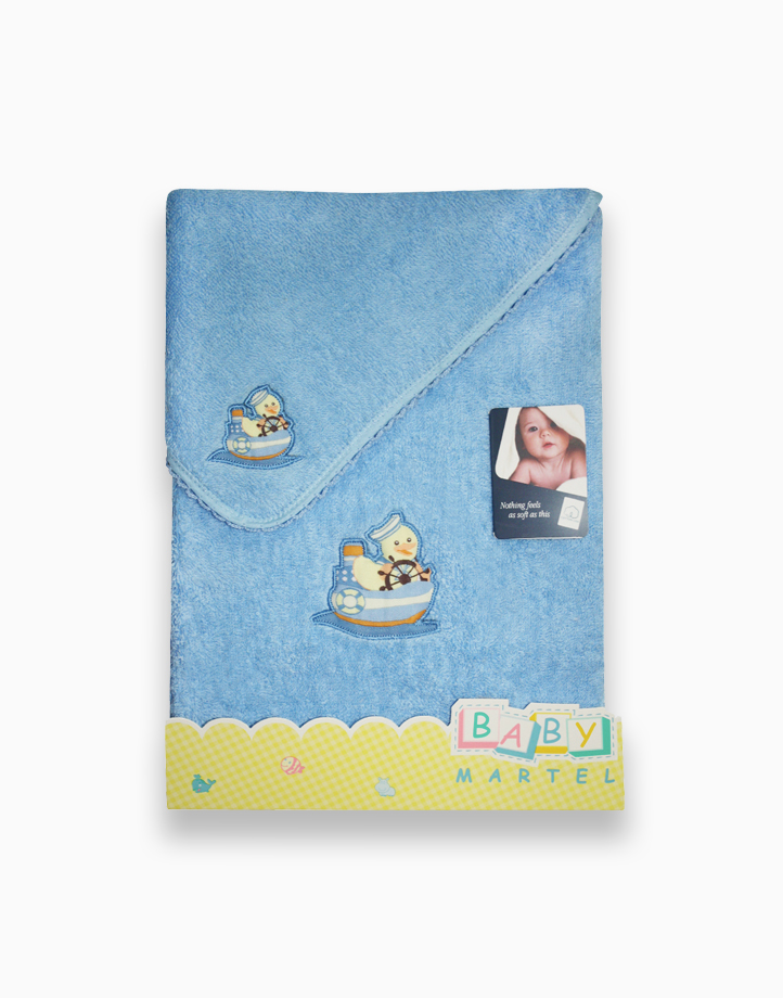 Duck with Ship Face Bath Towel by Baby Martel | Baby Blue