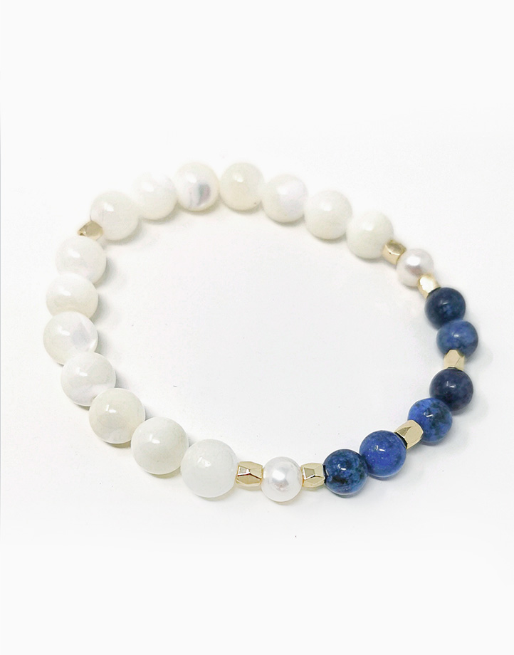 Inspired Wisdom Bracelet with Dumortierite, Freshwater Pearl, and Mother of Pearl (For Women) by The Calm Chakra | Large