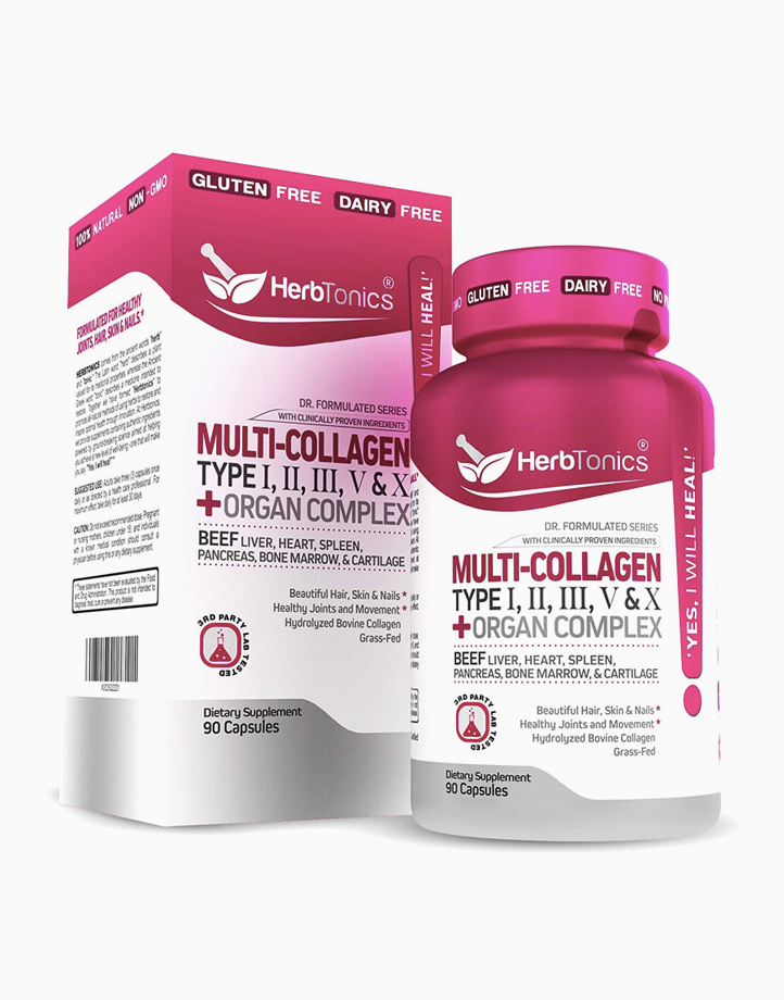 Multi Collagen Capsules Types I, II, III, V & X + Protein Peptides + Organ Complex (90 Caps) by Herbtonics