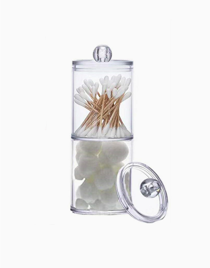2-Layer Acrylic Cosmetic Organizer with Cotton Pad Dispenser by Lulu Travels