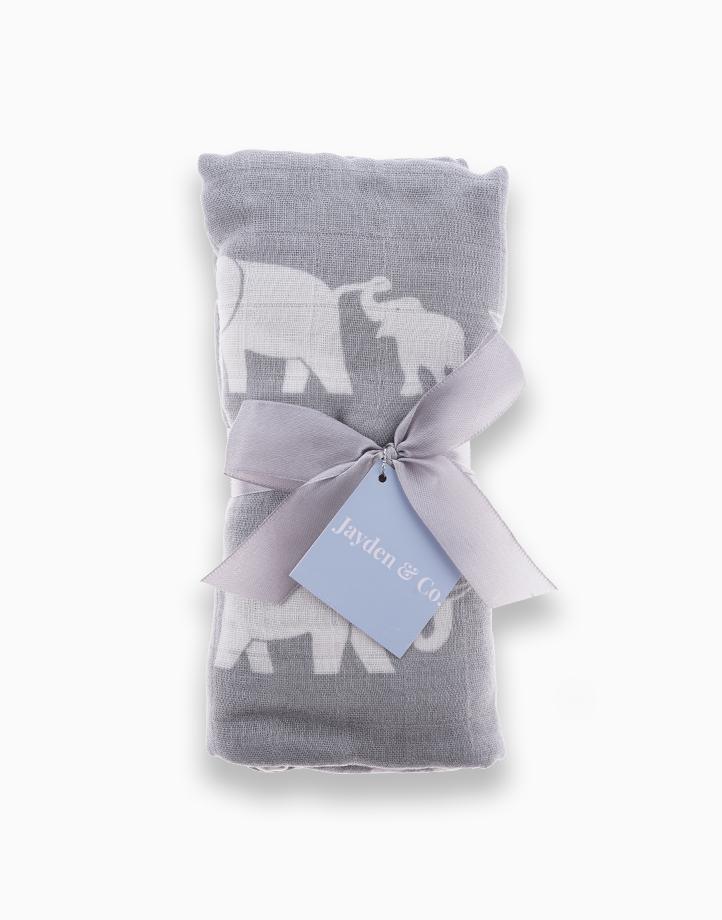 Muslin Swaddle Blanket by Jayden & Co. | Gray Elephant