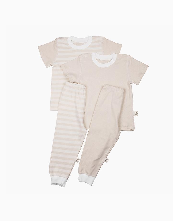 Short Sleeve Shirt and Pajamas Bundle (Beige) by YOJI WEAR | Size 90
