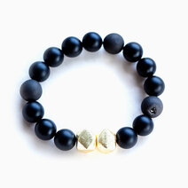 Re achiever chunky bracelet with 12mm black onyx and agate 1