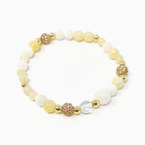 Re confidence bracelet with yellow jade mother of pearl and clear quartz 1