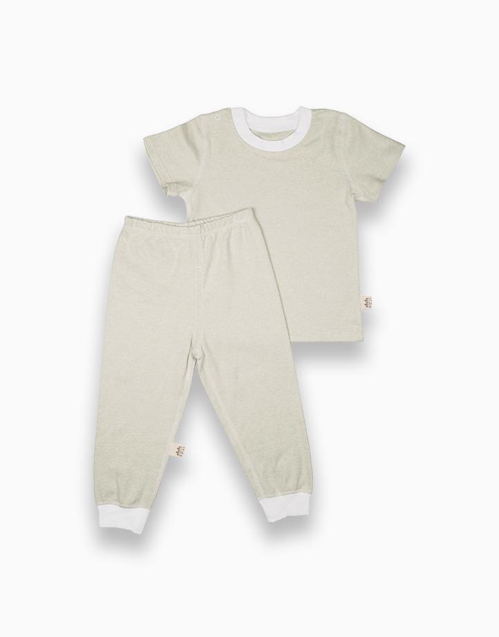 Short Sleeve Shirt and Pajamas Set (Green Solid) by YOJI WEAR | Size 90
