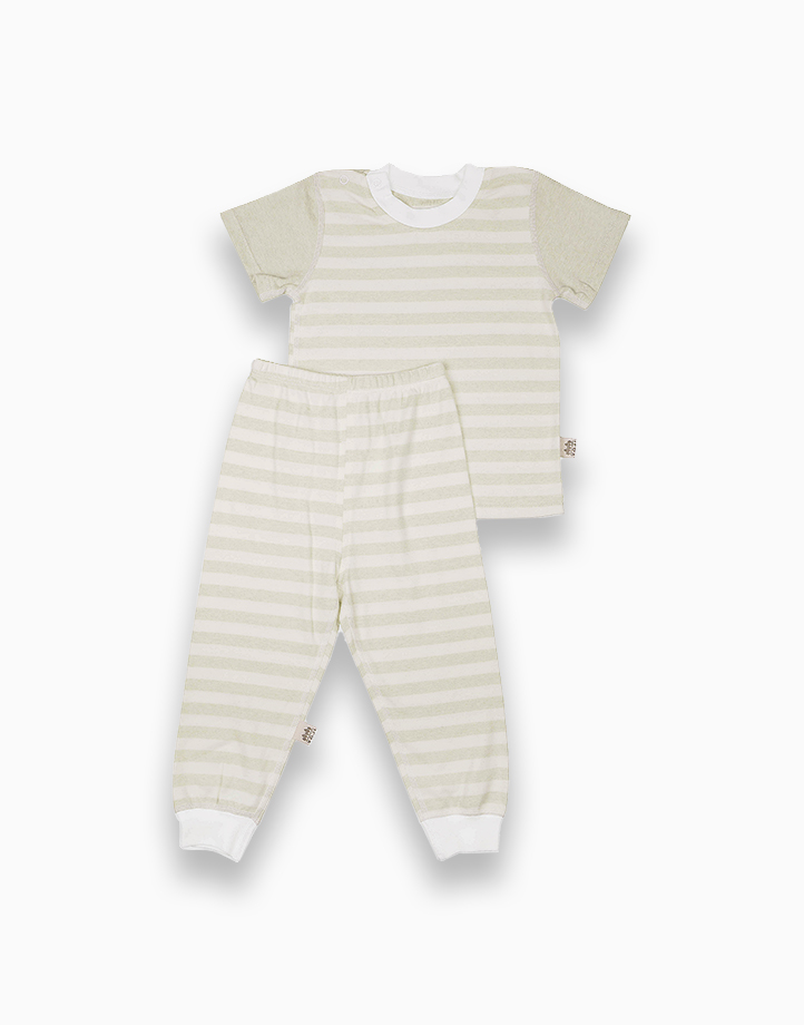 Short Sleeve Shirt and Pajamas Set (Green Stripes) by YOJI WEAR   Size 90