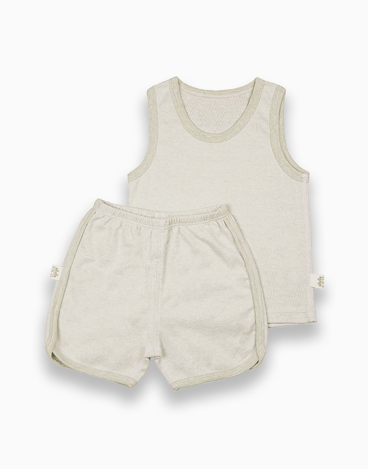 Sando and Shorts Set (Green Solid) by YOJI WEAR | Size 80