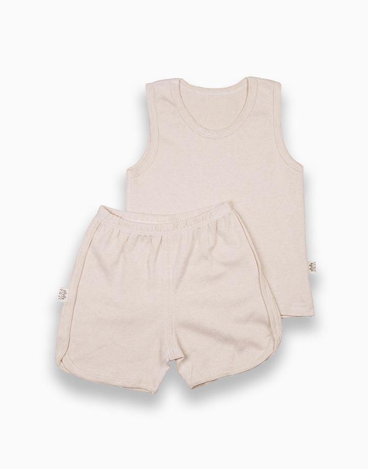 Sando and Shorts Set (Beige Solid) by YOJI WEAR   Size 100