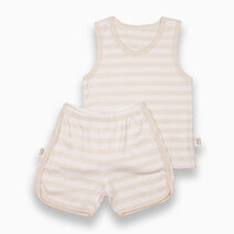 10   shorts and sando set beige striped