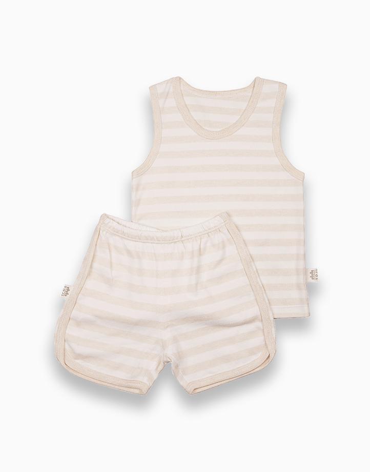 Sando and Shorts Set (Beige Stripes) by YOJI WEAR   Size 100