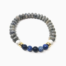 Re inspired wisdom bracelet with dumortierite earth jasper and howlite %28for men%29 1