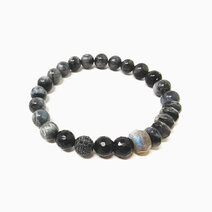 Re magic and protection bracelet with grey hawk eye labradorite black tourmaline and larkavite %28unisex%29 1