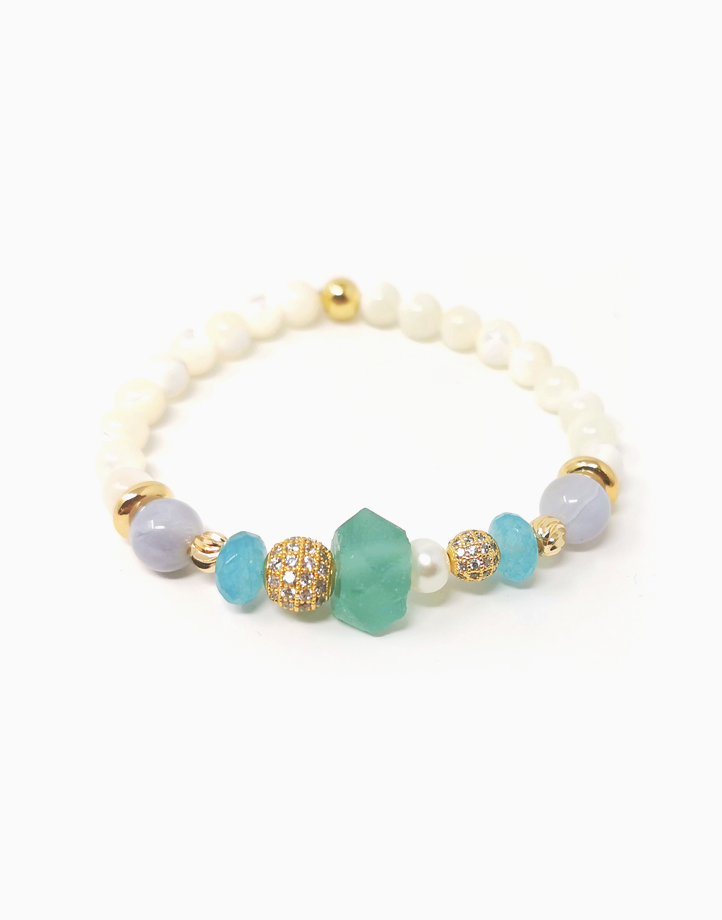 Serenity Bracelet with Blue Lace Agate, and Blue Sponge Quartz, Freshwater Pearl, and Mother of Pearl (For Women) by The Calm Chakra