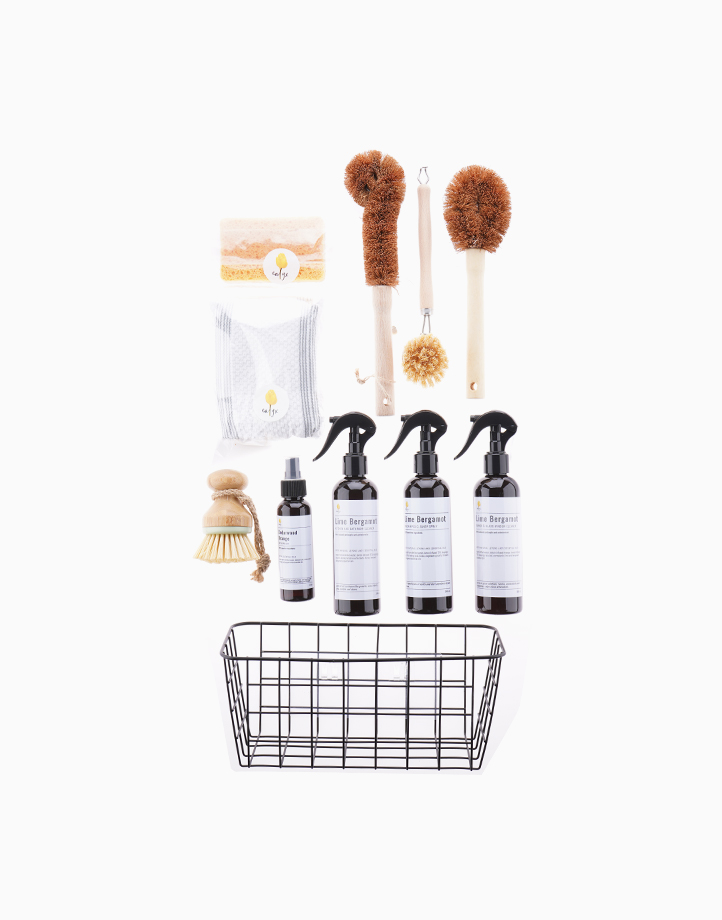 All-Natural Cleaning Set w Eco-Sustainable Multi-Purpose Cleaning Tools - Lime Bergamot by Calyx Life & Home