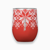 Corkcicle 12oz stemless   fairisle christmas collection red