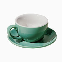 Porcelain egg 150ml flat white cup   saucer jade 1