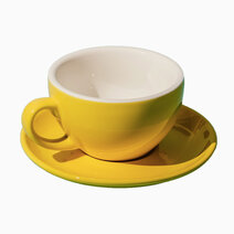 Porcelain egg 220ml cappuccino cafe latte cup  saucer yellow 1