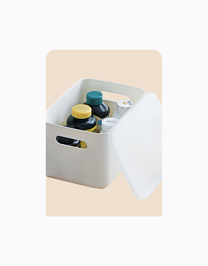 Shimoyama Large White Handled Storage Box (With Lid) by Simply Modular