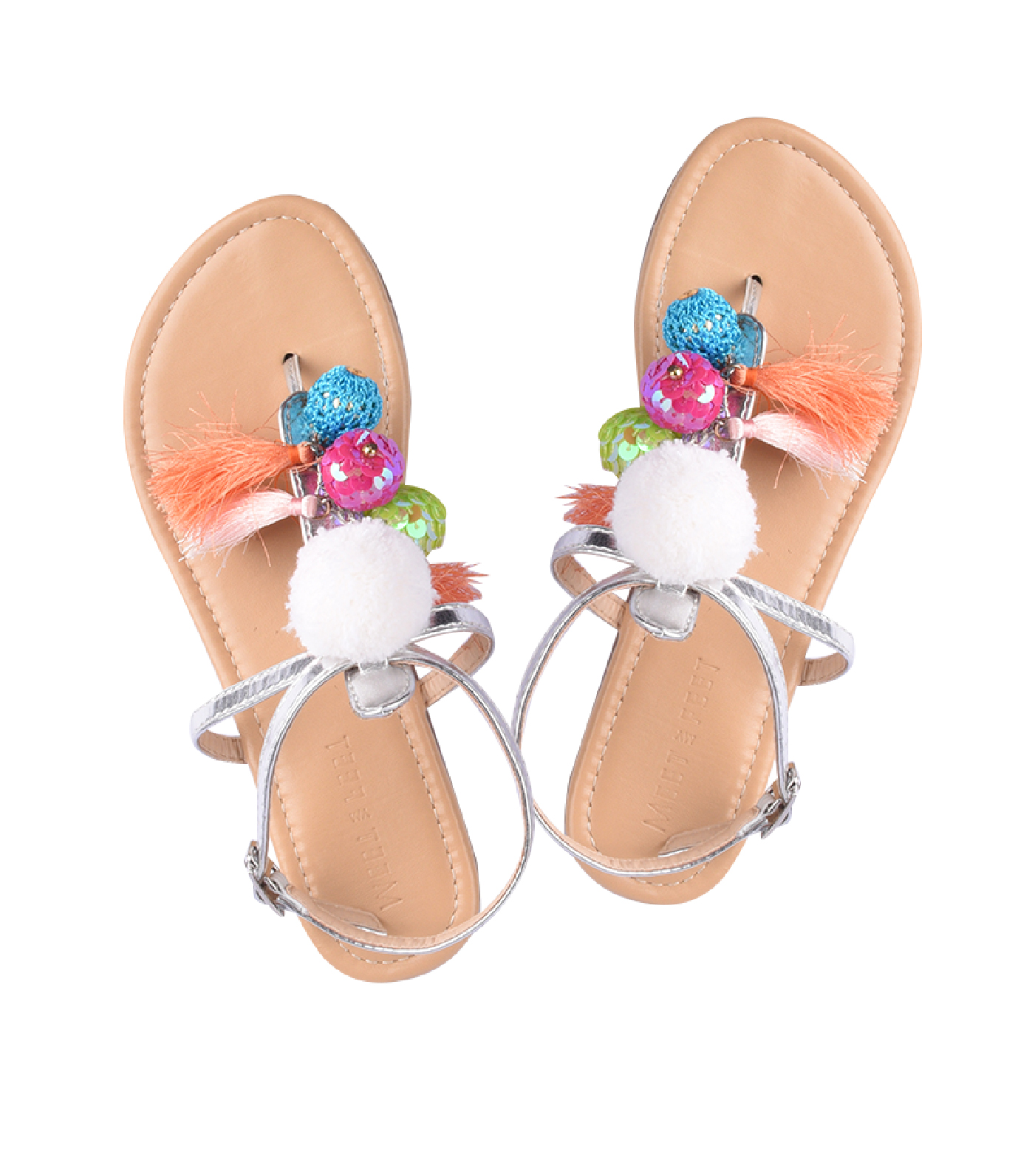 Lila Sandals for Girls (Kids) - Silver by Meet My Feet | 30