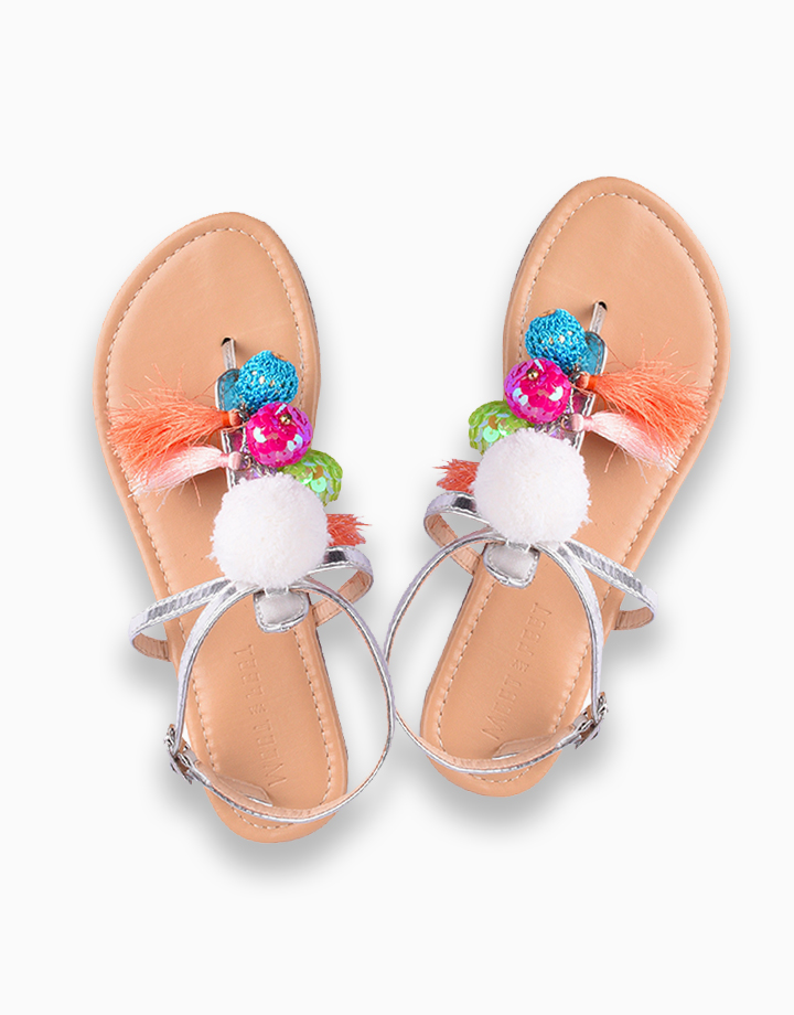 Lila Sandals for Girls (Kids) - Silver by Meet My Feet | 32