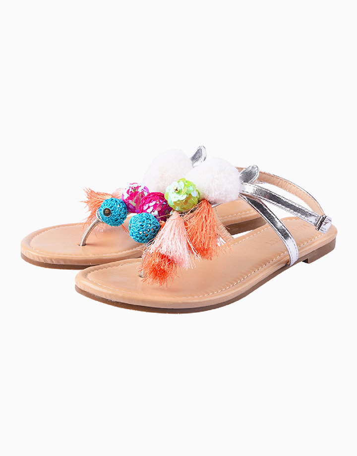 Lila Sandals for Girls (Kids) - Silver by Meet My Feet | 36
