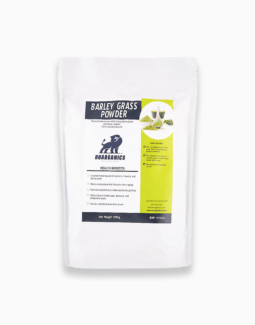 Barley Grass Powder (1kg) by Roarganics
