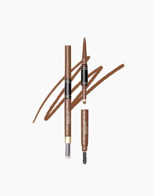 K-Palette 1Day Tattoo Lasting 3Way Eyebrow Pencil 24H (Reformulated) by K-Palette | Light Brown 01